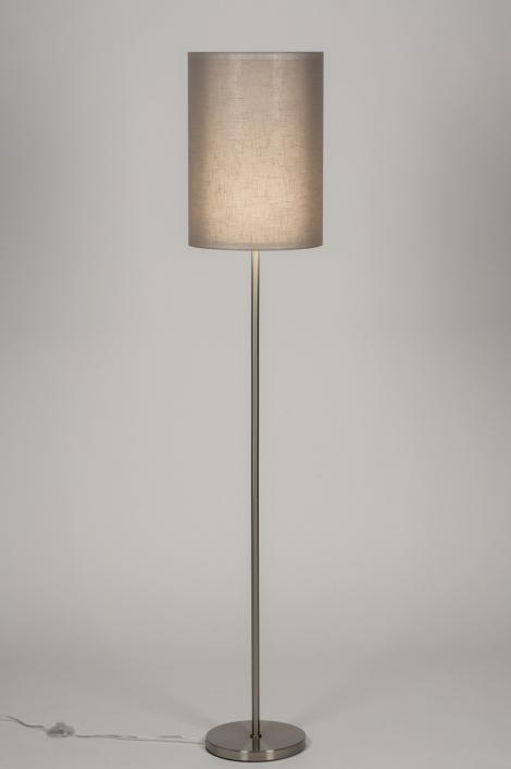 Staande Lamp 30633: Modern, Landelijk Rustiek, Taupe, Staal Rvs