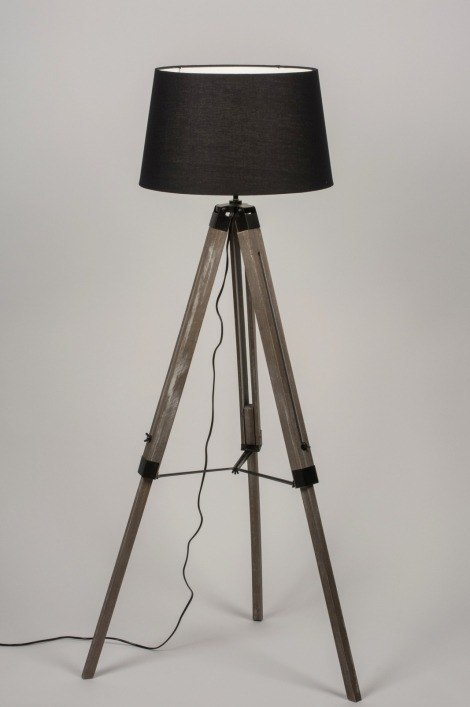 Floor lamp 30684: industrial look, rustic, contemporary classical, wood #0