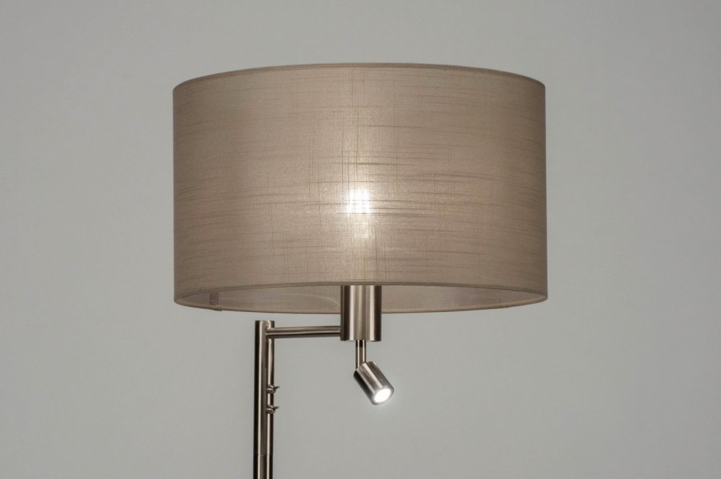 Staande lamp 30777: modern staalgrijs taupe metaal