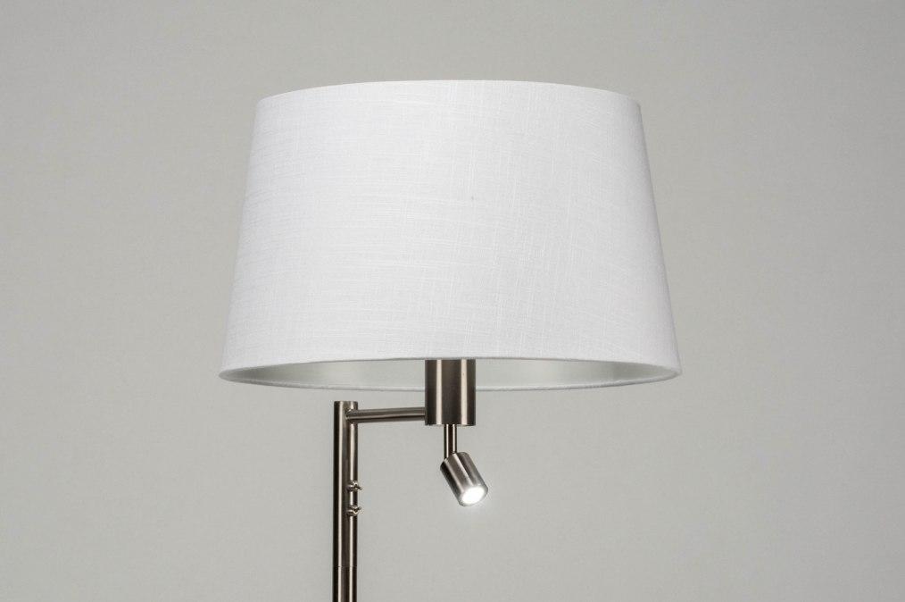 Staande lamp modern staalgrijs wit metaal