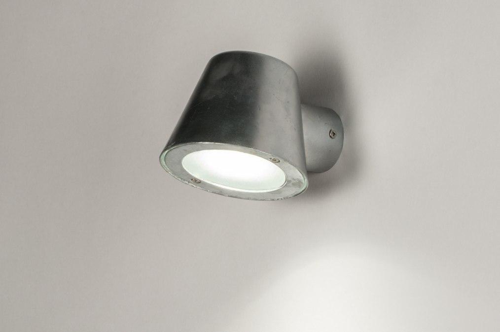 Wandleuchte 30815: Industrielook, modern, galvanisiertes Stahl thermisch eingepraegt, Metall #0