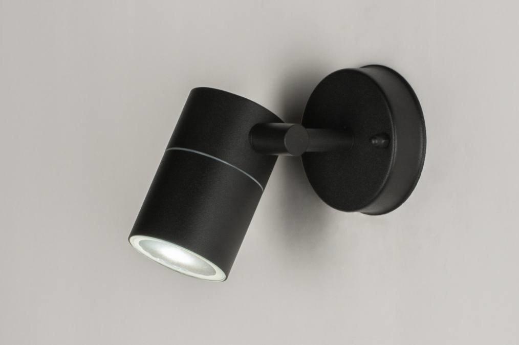 Wandlamp 30828: modern, staal rvs, metaal, zwart #0