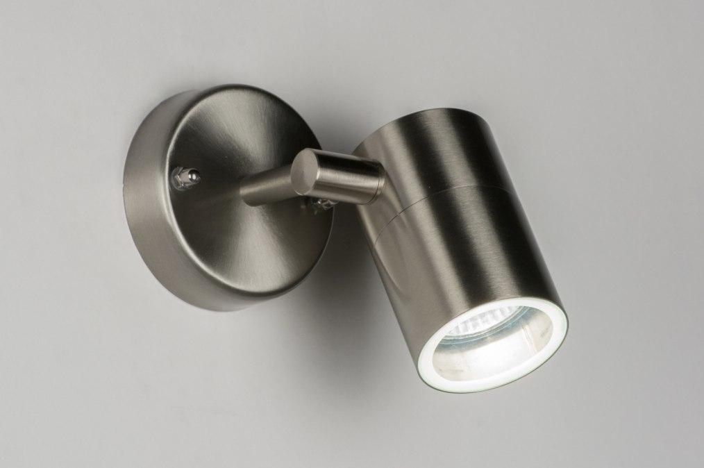 Wandlamp 30836: modern, staal rvs, metaal, rond #0