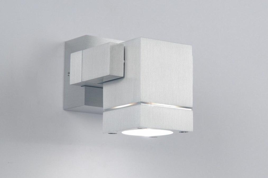 Wandlamp 30838: design, modern, geschuurd aluminium, metaal #0