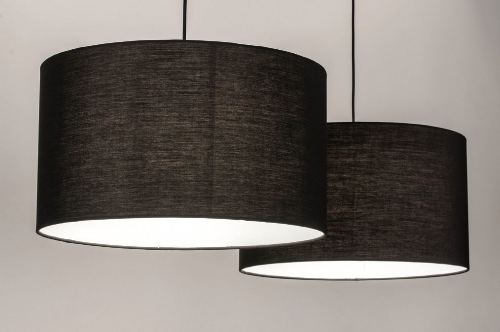 Hanglamp 30862: modern, stof, metaal, zwart #0