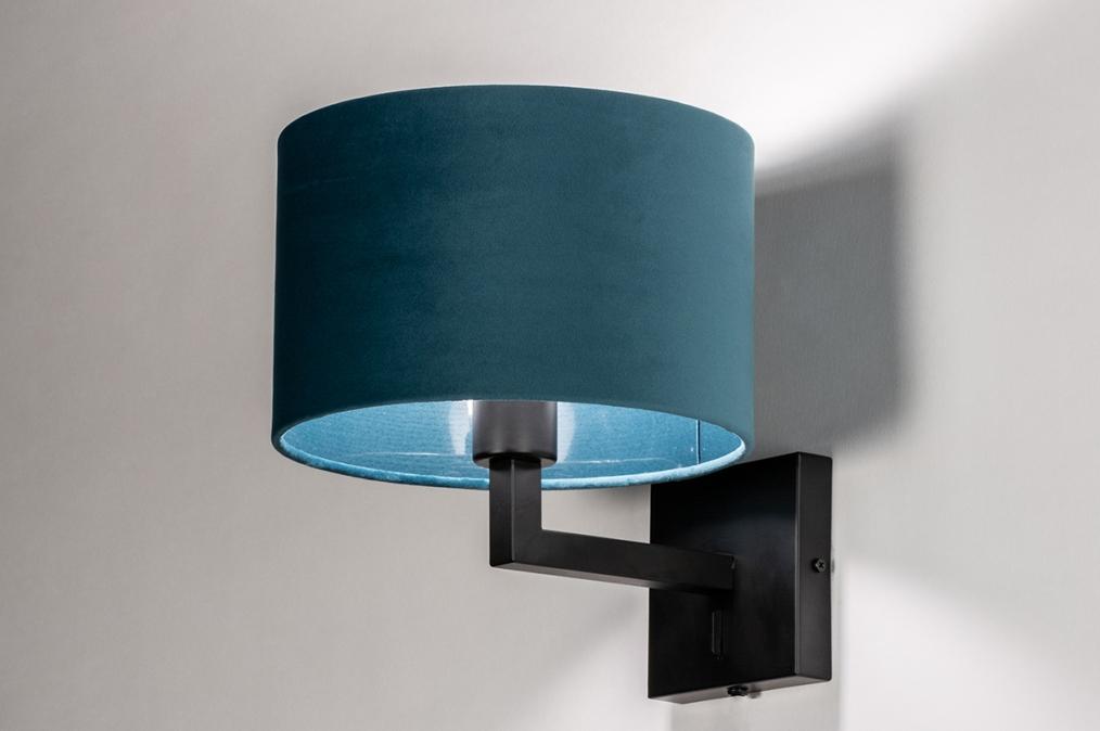 Wandlamp 30935: zwart, mat, blauw #0