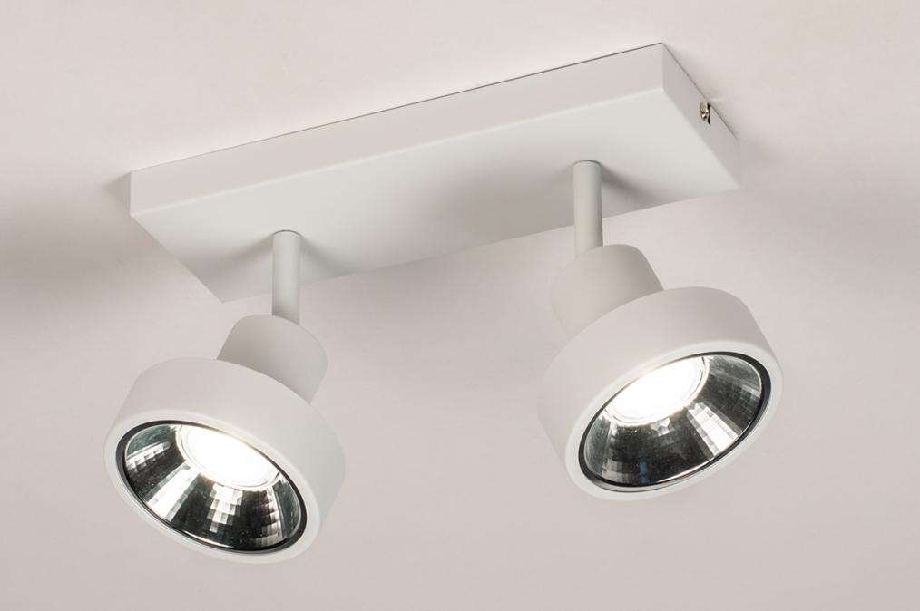 Spot 31015: modern, metaal, wit, langwerpig #0