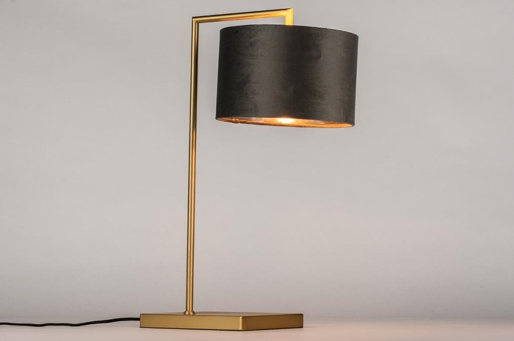 Tafellamp 31073: modern, eigentijds klassiek, messing, stof #0