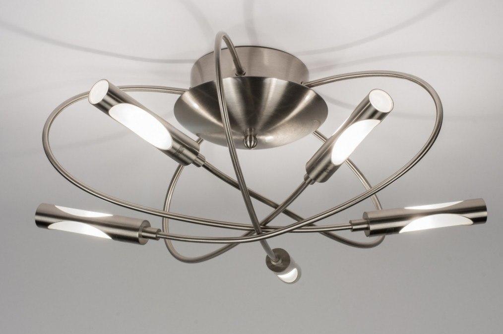Plafondlamp 58816: modern, staal rvs, metaal, staalgrijs #0