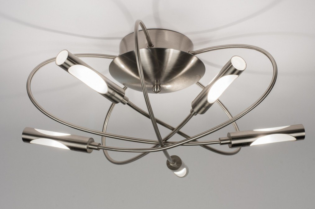 Plafondlamp 58816 modern staalgrijs metaal staal rvs for Plafondverlichting