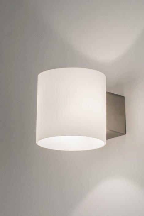 Wandlamp 64253: modern, glas, wit opaalglas, rond #0
