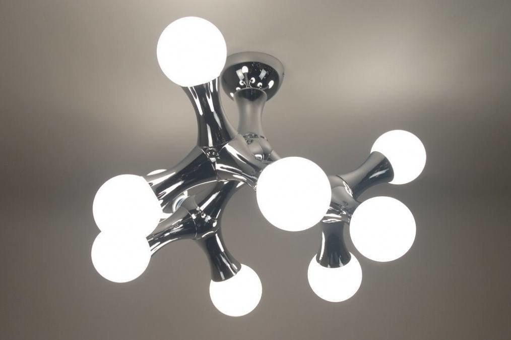 Plafondlamp 67069: modern, chroom, glas, wit opaalglas #0