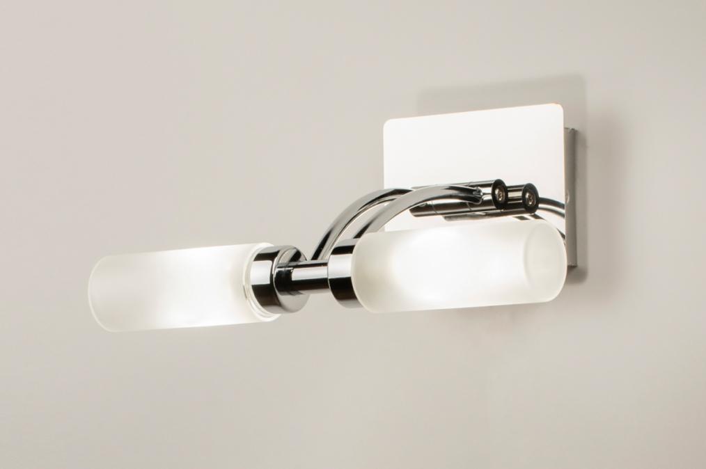 Wandlamp 68732: modern, glas, wit opaalglas, metaal #0