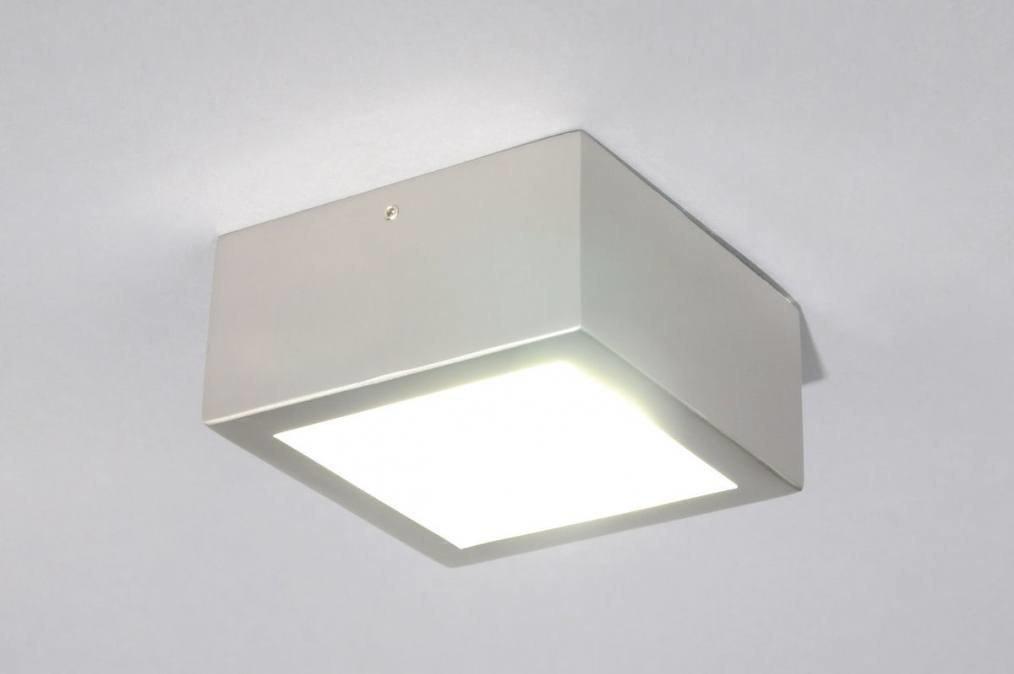 Plafondlamp 68990: modern, metaal, staal rvs, vierkant #0