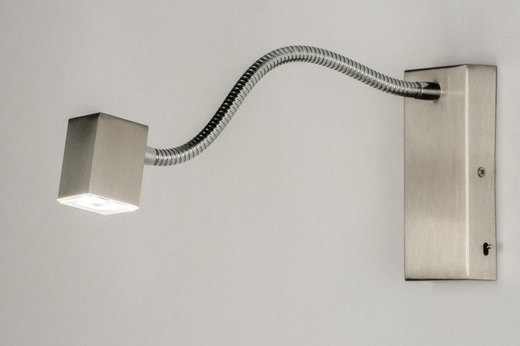 Wandlamp 70025: modern, staal rvs, metaal, rechthoekig #0
