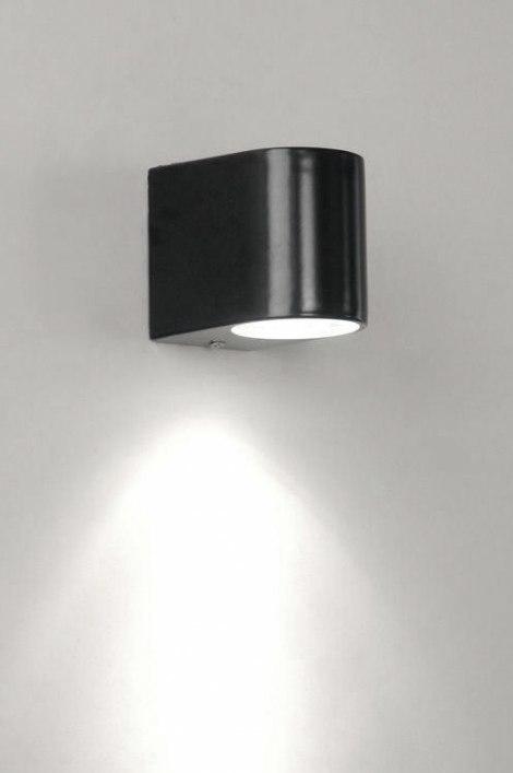 Wandlamp 70076: modern, metaal, zwart, mat #0