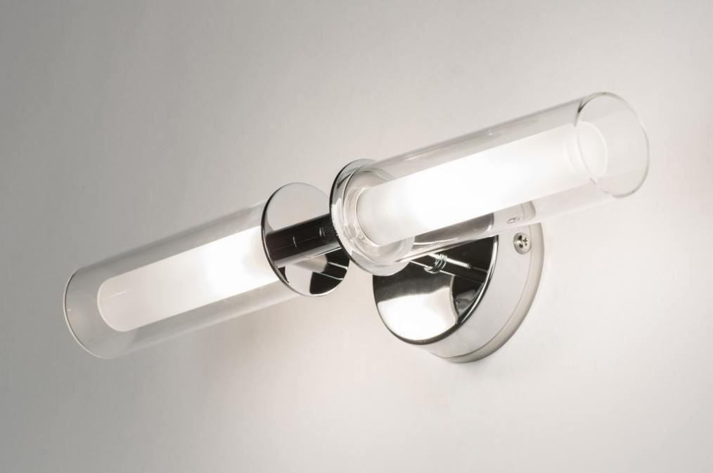 Wandlamp 70122: modern, eigentijds klassiek, chroom, glas #0