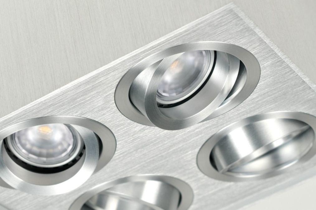 deckenleuchte 70167 modern aluminium gebuerstetes aluminium viereckig. Black Bedroom Furniture Sets. Home Design Ideas