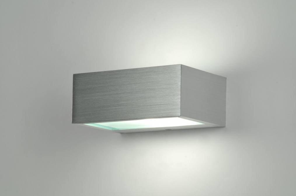 Wandlamp 70180: modern, aluminium, geschuurd aluminium, metaal #0