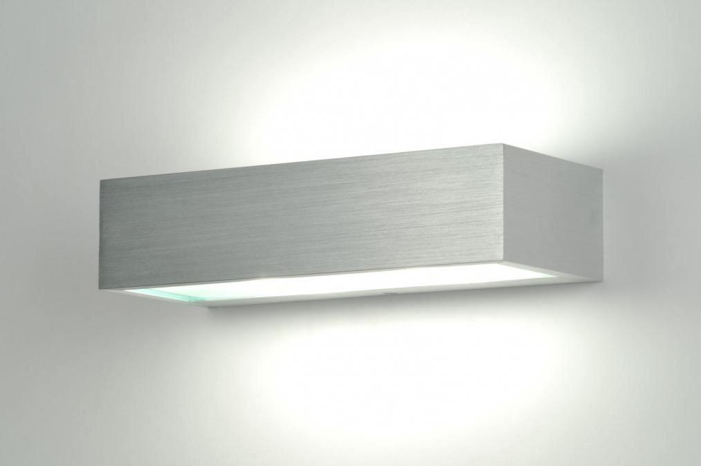 Wandlamp 70186: modern, aluminium, geschuurd aluminium, metaal #0