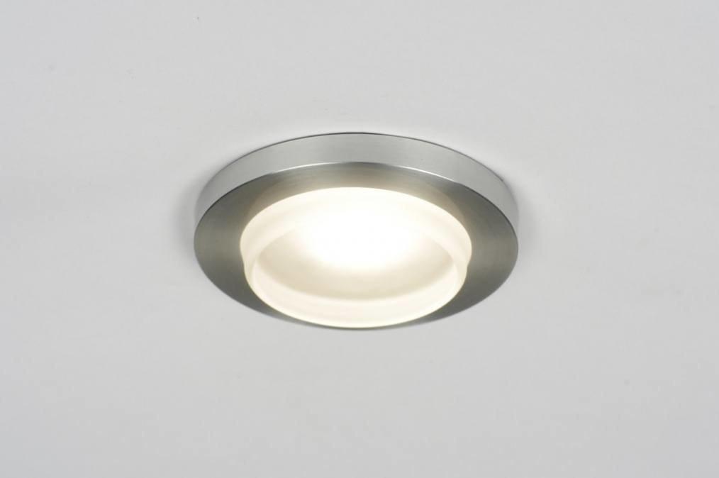 Inbouwspot 70202: modern, geschuurd aluminium, metaal, rond #0