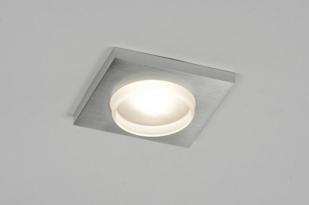 Inbouwspot 70203: modern, geschuurd aluminium, metaal, aluminium #0