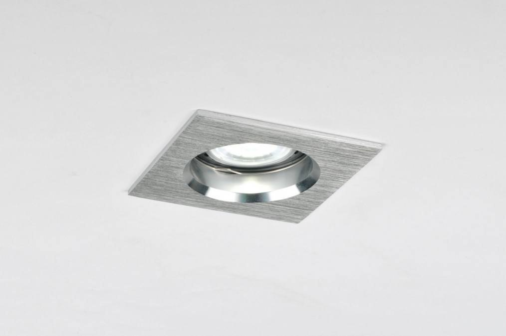 Inbouwspot 70218: modern, aluminium, metaal, vierkant #0