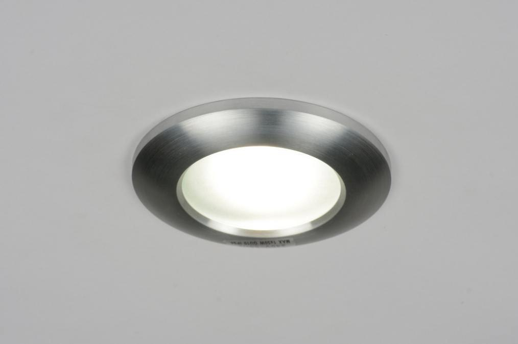 Recessed spotlight 70222: modern, contemporary classical, sanded aluminium, round #0