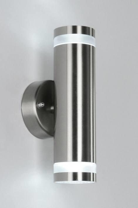 Wandlamp 70503: modern, metaal, staal rvs, rond #0