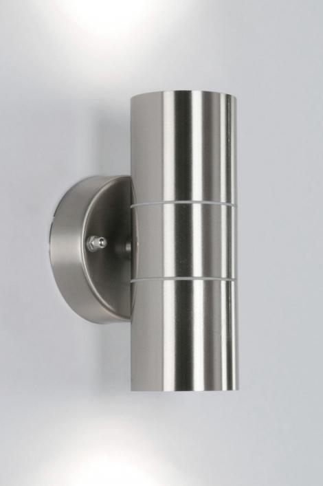 Wandlamp 70504: modern, staal rvs, metaal, rond #0