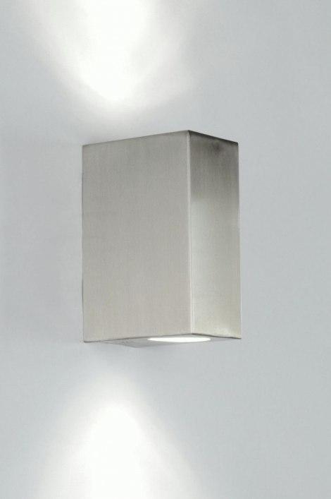 Wandlamp 70509: modern, staal rvs, metaal, staalgrijs #0