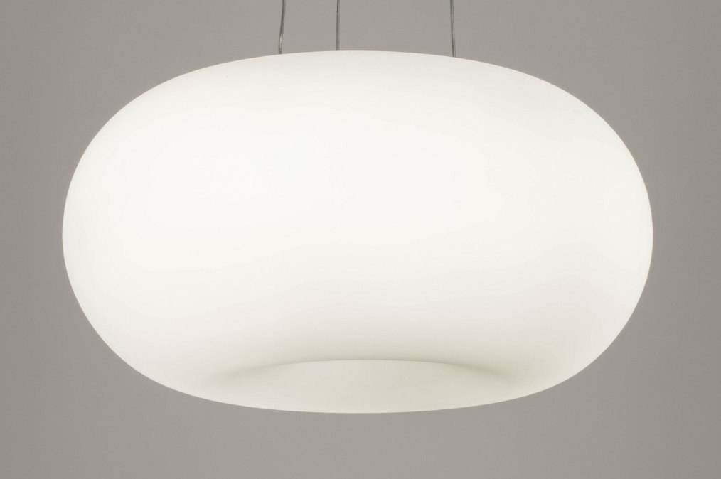 Hanglamp 70598: modern, glas, wit opaalglas, wit #0