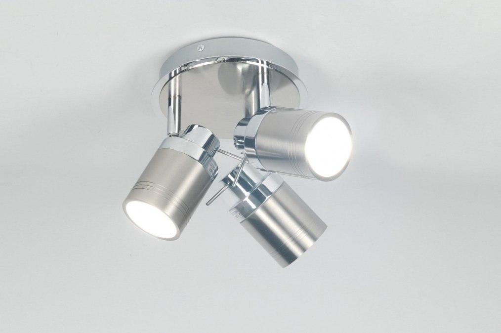 Plafondlamp 70677: modern, eigentijds klassiek, chroom, staalgrijs #0