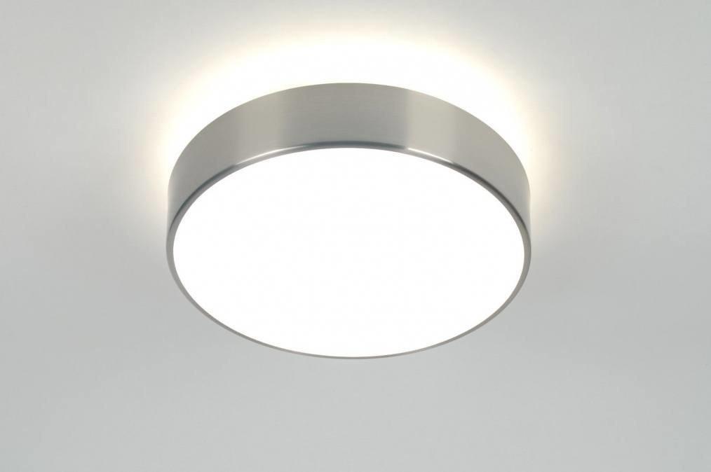 Plafondlamp 70713: modern, glas, wit opaalglas, staal rvs #0
