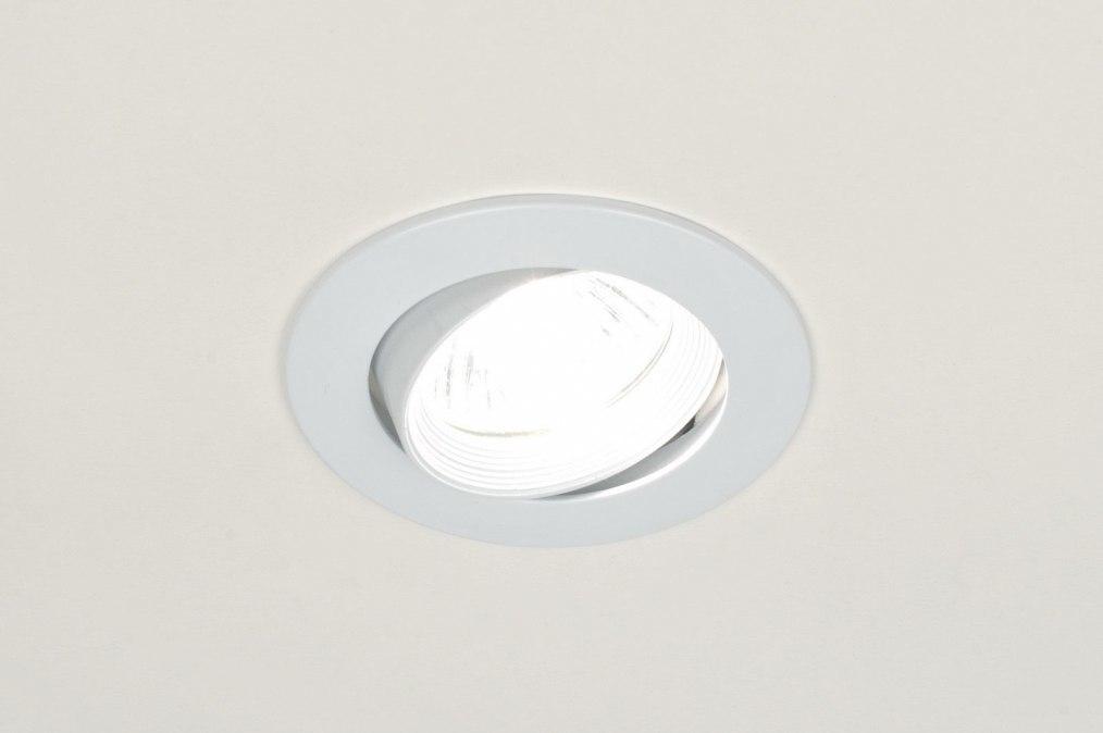 Inbouwspot 70806: modern, metaal, wit, mat #0
