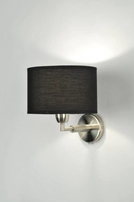 Wandlamp 70831: modern, zwart, stof, rond #0