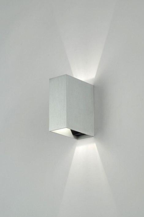 Wandlamp 70978: modern, design, geschuurd aluminium, metaal #0