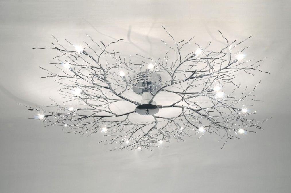 Plafondlamp 70985: modern, chroom, metaal, rond #0