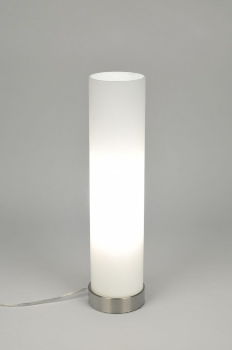 Table lamp 71080: modern, contemporary classical, glass, white opal glass #0