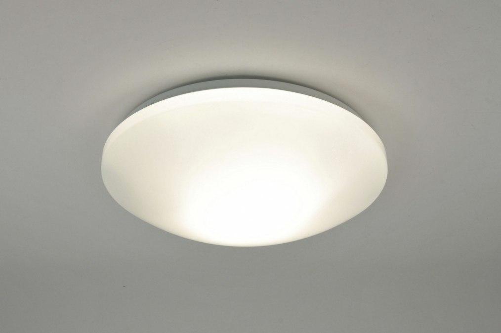 Plafondlamp 71097: modern, wit, kunststof, rond #0