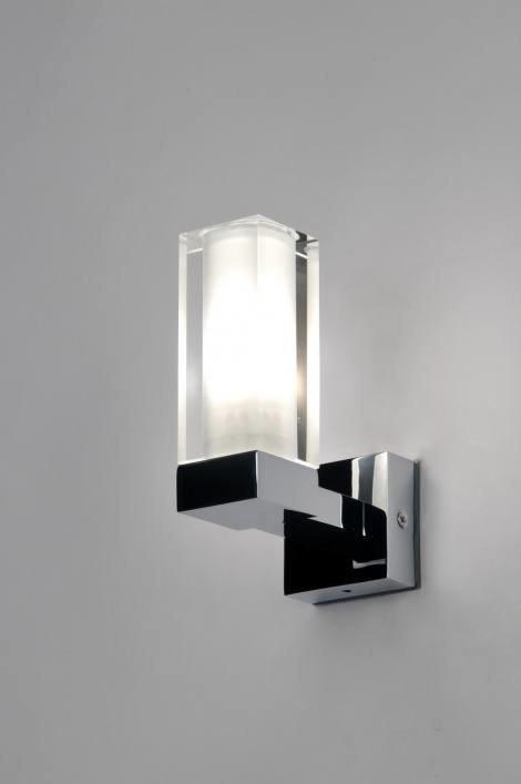 Wandlamp 71148: modern, glas, wit opaalglas, helder glas #0