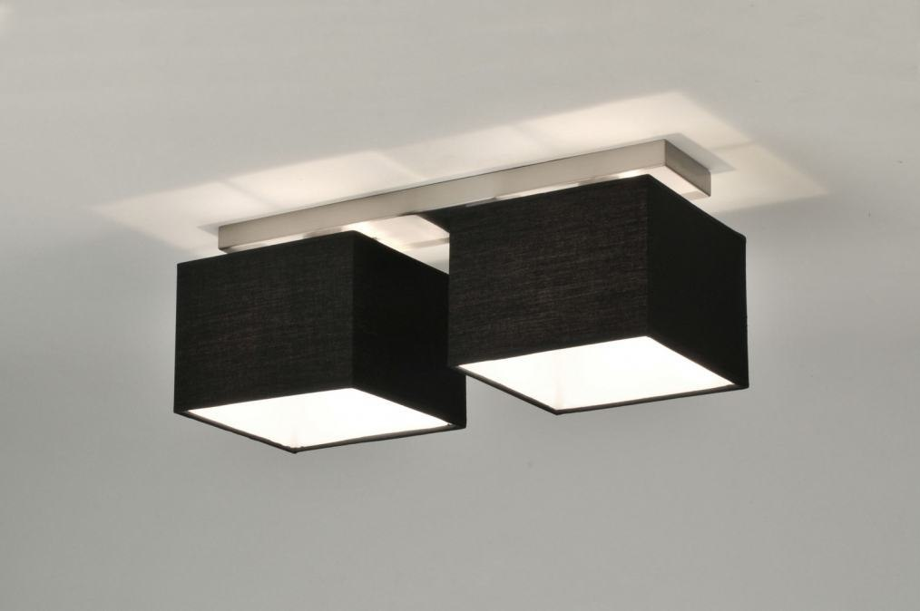 Plafondlamp 71212: modern, eigentijds klassiek, zwart, stof #0
