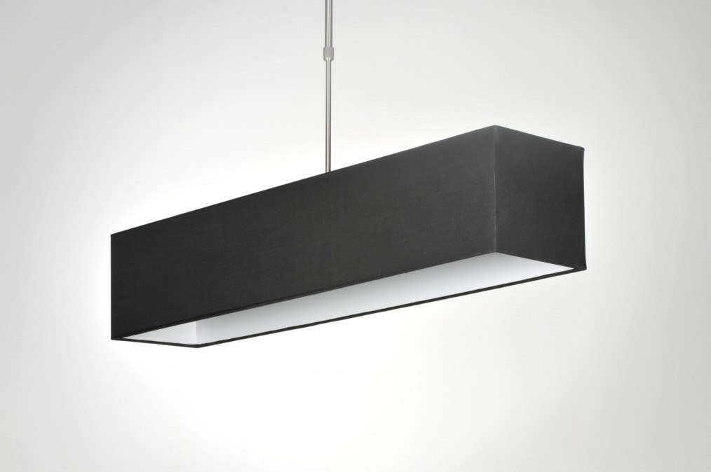 Suspension 71216 moderne noir etoffe rectangulaire for Suspension moderne noir