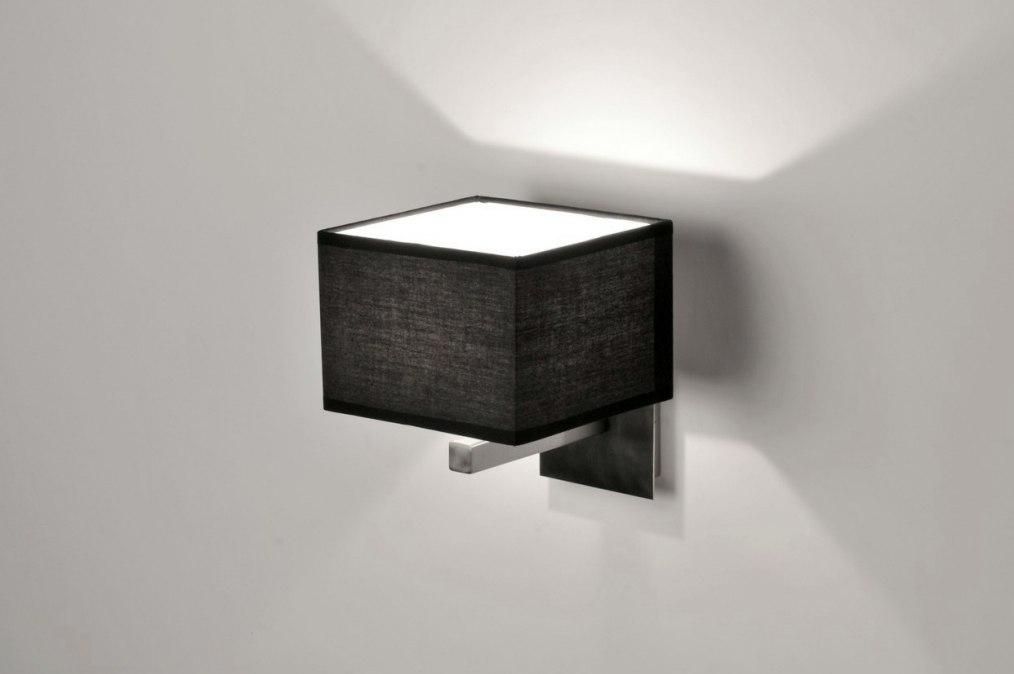 Wandlamp 71218: Modern, Eigentijds Klassiek, Zwart, Stof