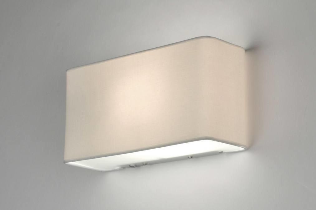 Wandlamp 71227: modern, eigentijds klassiek, stof, wit #0