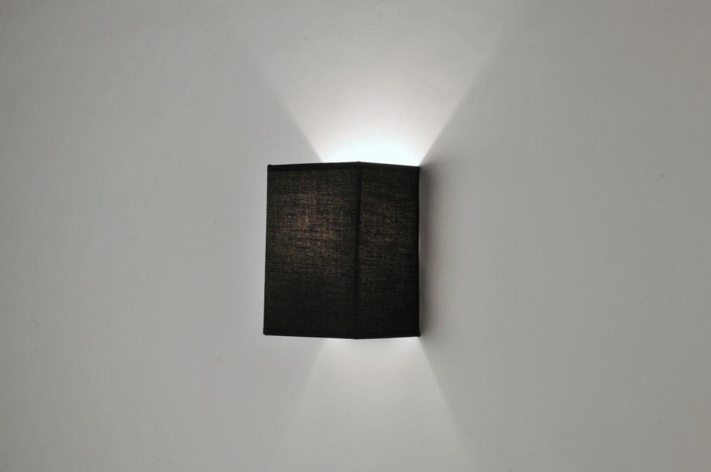Wandlamp 71228: modern, zwart, stof, rechthoekig #0