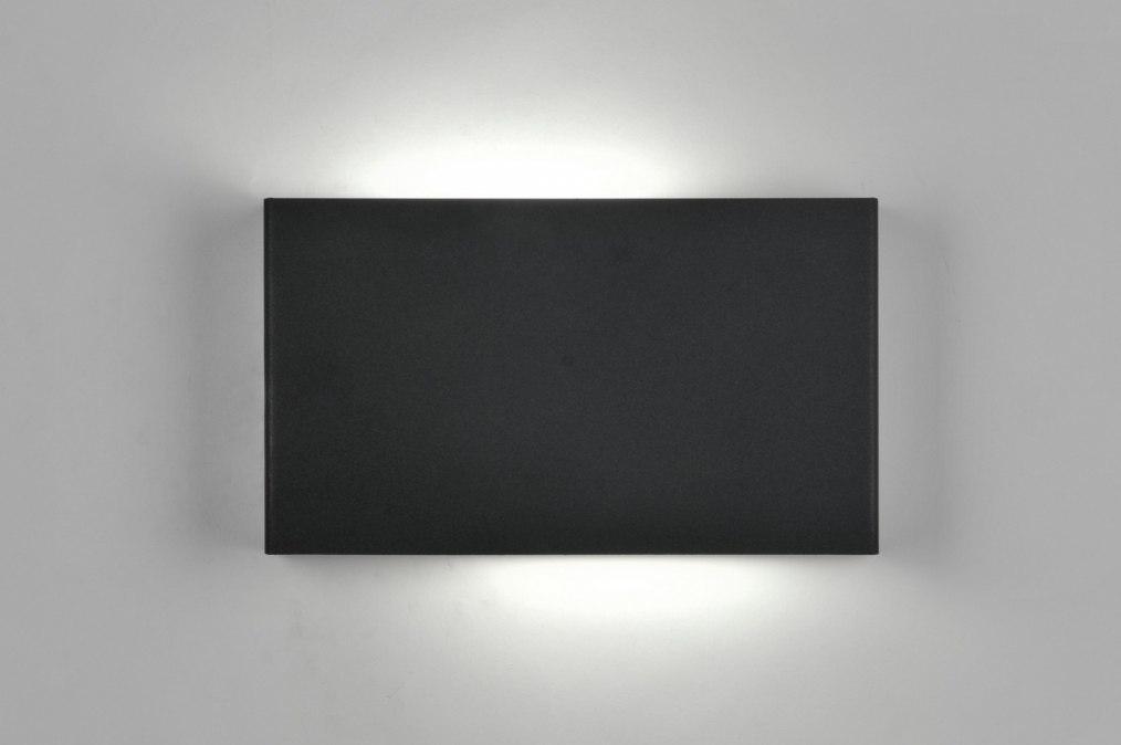 Wandlamp 71301: design, modern, metaal, zwart #0