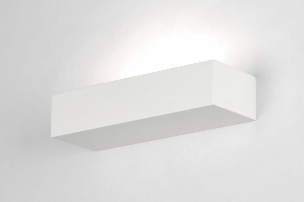 Wandlamp 71359: modern, eigentijds klassiek, keramiek, wit #0
