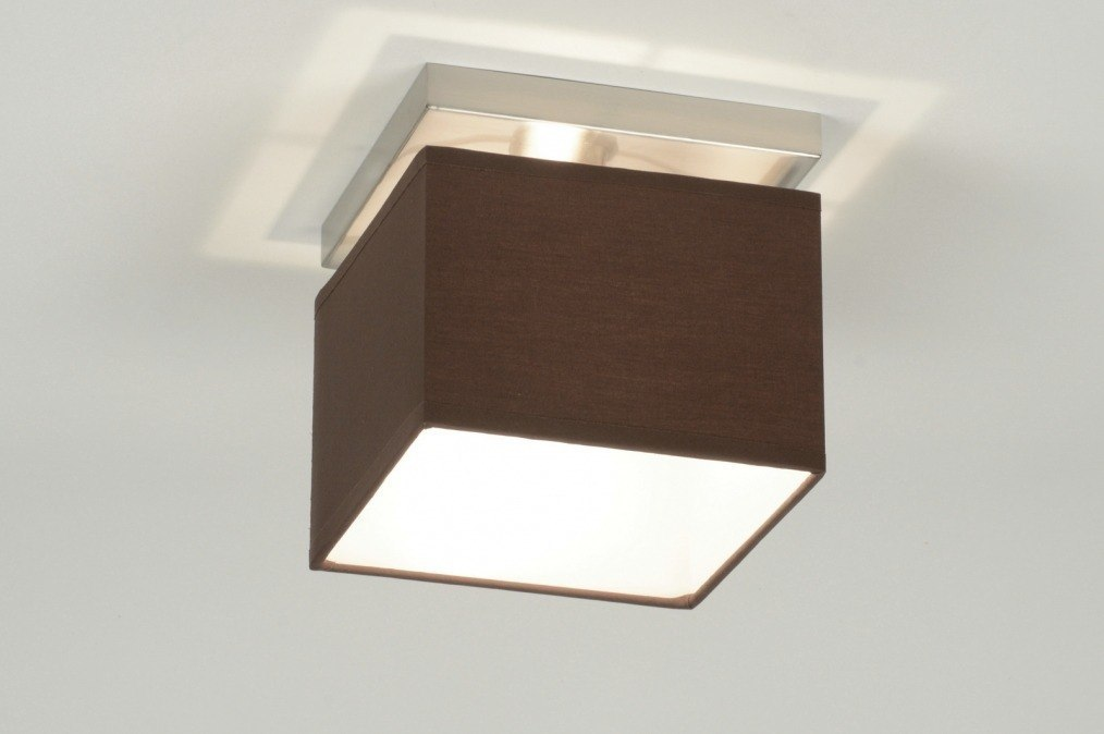 Plafondlamp 71460: modern, stof, bruin, vierkant #0