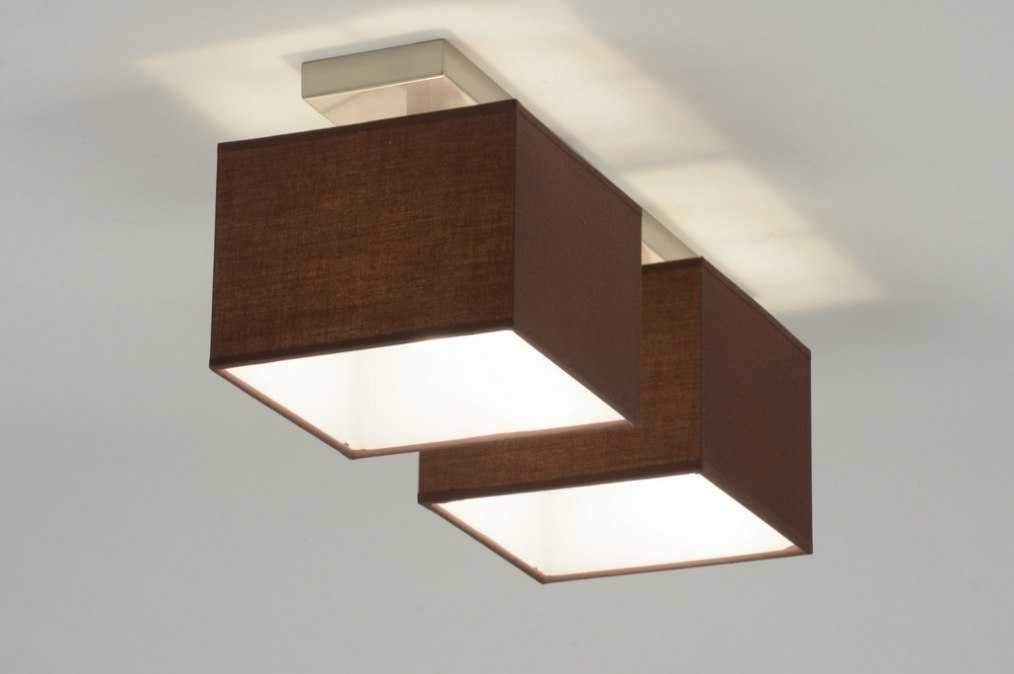 deckenleuchte 71461 modern braun stahl rostbestaendig stoff. Black Bedroom Furniture Sets. Home Design Ideas